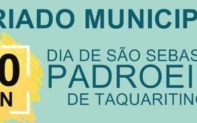 Em Taquaritinga (SP): Estabelecimentos ficarão fechados no dia de São Sebastião, padroeiro da cidade