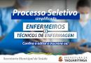 Prefeitura de Taquaritinga (SP) abre processo seletivo para contratação emergencial de enfermeiros e técnicos de enfermagem