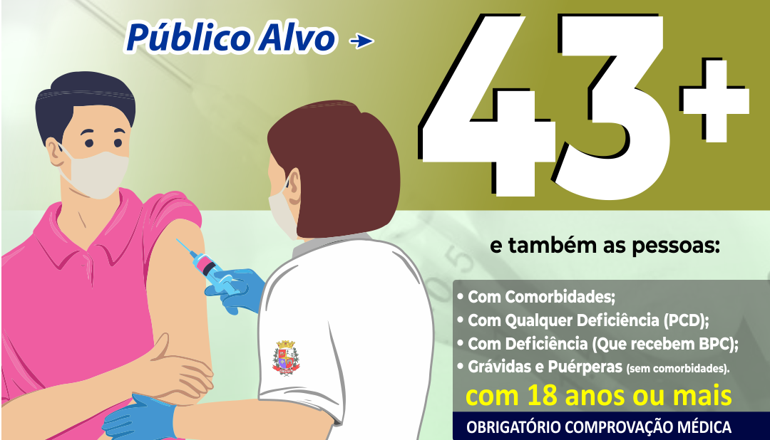 Em Taquaritinga (SP): Saúde antecipa vacinação para pessoas de 43, 44 e 45 anos