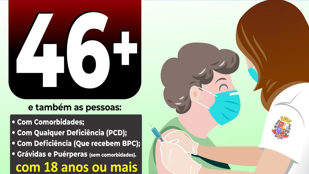 Em Taquaritinga (SP): Saúde inicia vacinação contra a Covid-19 para pessoas de 46 e 47 anos