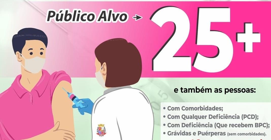 Em Taquaritinga (SP): Saúde antecipa vacinação contra a Covid-19 para pessoas de 25 e 26 anos
